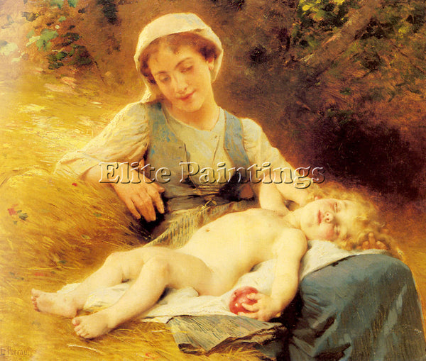 BAZILE PERRAULT LEON JEAN BASILE A MOTHER WITH HER SLEEPING CHILD ARTIST CANVAS
