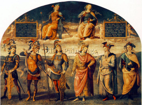 PIETRO PERUGINO FORTITUDE AND TEMPERANCE WITH SIX ANTIQUE HEROES 1497 ARTIST OIL