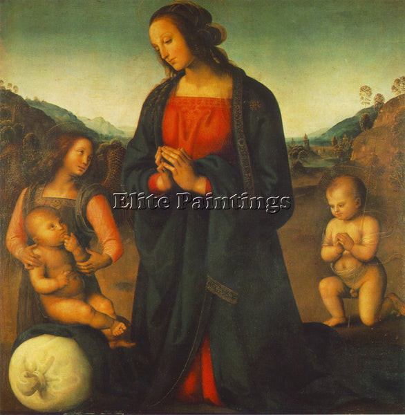 PERUGINO MADONNA ANGEL AND LITTLE ST JOHN ADORING CHILD MADONNA DEL SACCO CANVAS