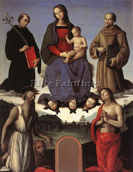 PIETRO PERUGINO MADONNA AND CHILD WITH FOUR SAINTS TEZI ALTARPIECE 1500 PAINTING