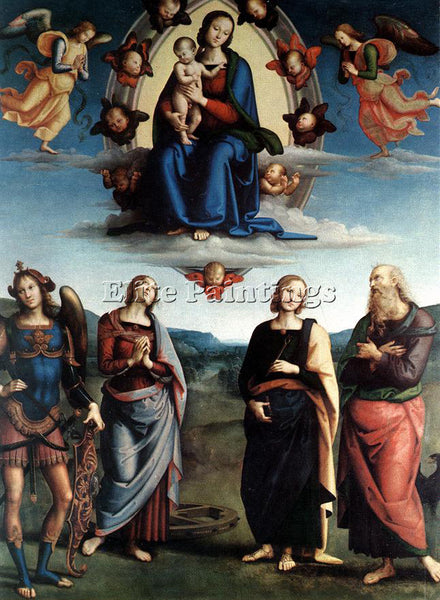 PIETRO PERUGINO MADONNA IN GLORY WITH THE CHILD AND SAINTS 1595 6 ARTIST CANVAS