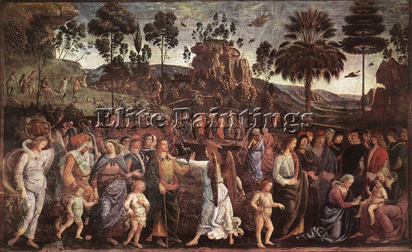 PIETRO PERUGINO MOSES S JOURNEY INTO EGYPT C1482 ARTIST PAINTING HANDMADE CANVAS