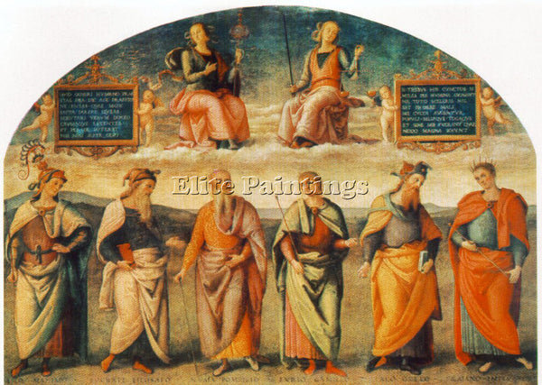 PIETRO PERUGINO PRUDENCE AND JUSTICE WITH SIX ANTIQUE WISEMEN 1497 REPRODUCTION