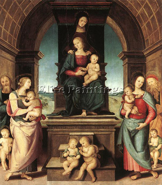 PIETRO PERUGINO THE FAMILY OF THE MADONNA 1500 2 ARTIST PAINTING HANDMADE CANVAS