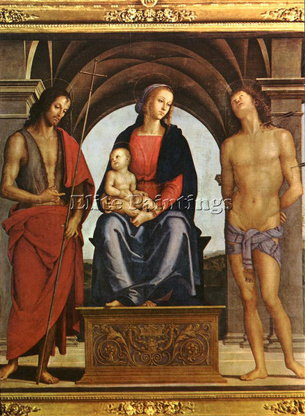 PIETRO PERUGINO THE MADONNA BETWEEN ST JOHN BAPTIST AND ST SEBASTIAN OIL CANVAS
