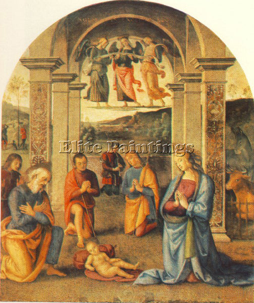 PIETRO PERUGINO THE PRESEPIO 1498 ARTIST PAINTING REPRODUCTION HANDMADE OIL DECO