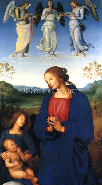 PIETRO PERUGINO THE VIRGIN AND CHILD WITH AN ANGEL ARTIST PAINTING REPRODUCTION