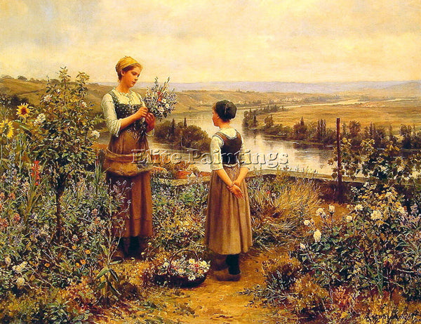 DANIEL RIDGWAY KNIGHT PICKING FLOWERS ARTIST PAINTING REPRODUCTION HANDMADE OIL