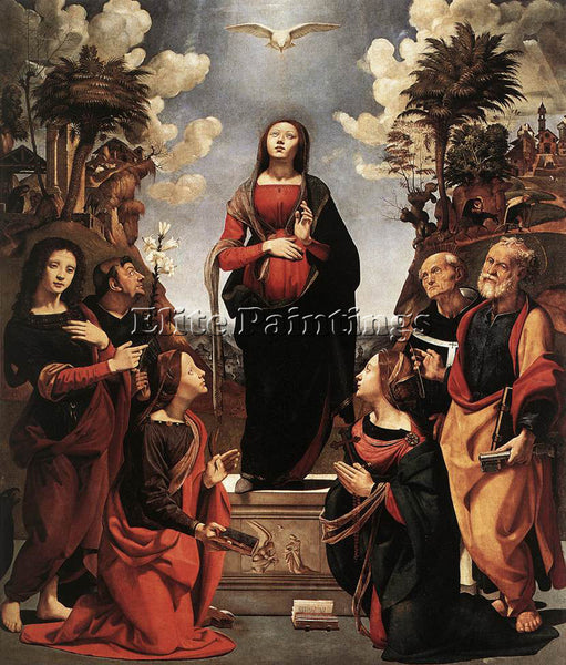 PIERO DI COSIMO IMMACULATE CONCEPTION WITH SAINTS C1505 ARTIST PAINTING HANDMADE