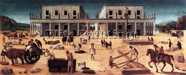 PIERO DI COSIMO THE BUILDING OF A PALACE 1515 ARTIST PAINTING REPRODUCTION OIL