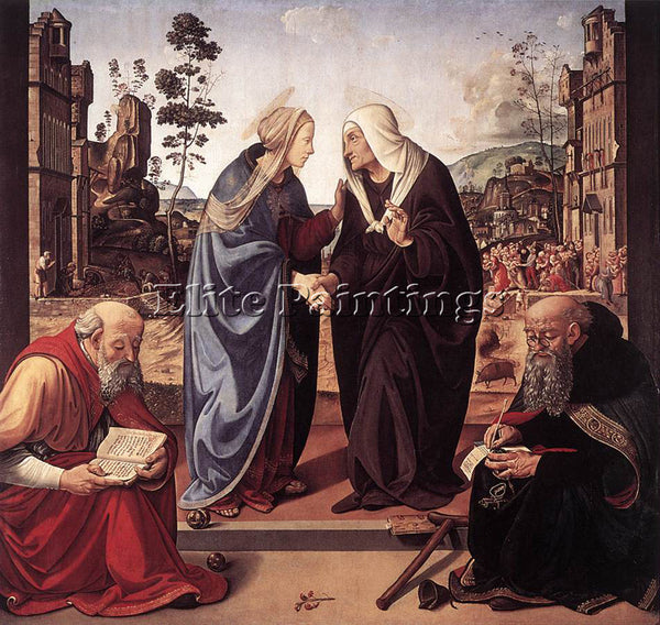 PIERO DI COSIMO THE VISITATION WITH STS NICHOLAS AND ANTHONY 1489 90 OIL CANVAS