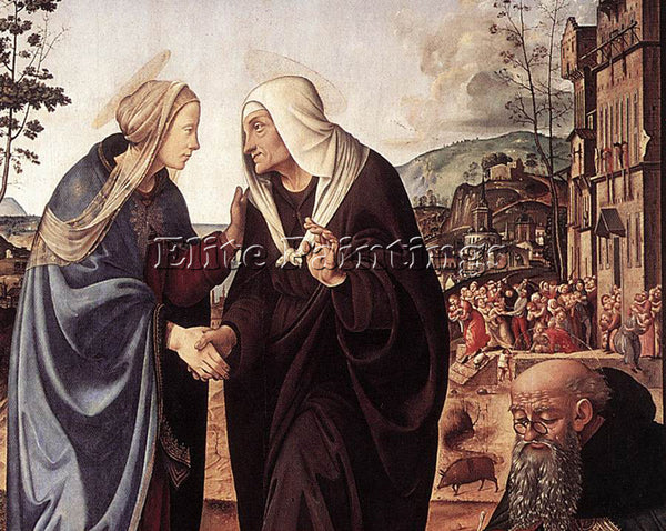PIERO DI COSIMO THE VISITATION WITH STS NICHOLAS AND ANTHONY ARTIST PAINTING OIL