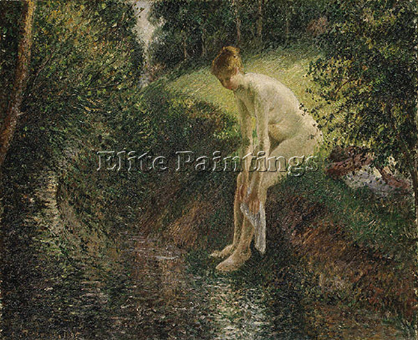 CAMILLE PISSARRO BATHER IN THE WOODS 1895 ARTIST PAINTING REPRODUCTION HANDMADE