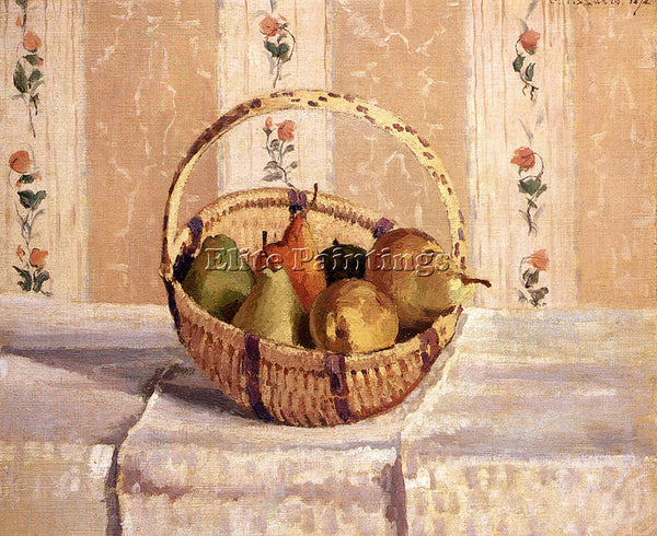 CAMILLE PISSARRO STILL LIFE APPLES AND PEARS IN A ROUND BASKET PAINTING HANDMADE