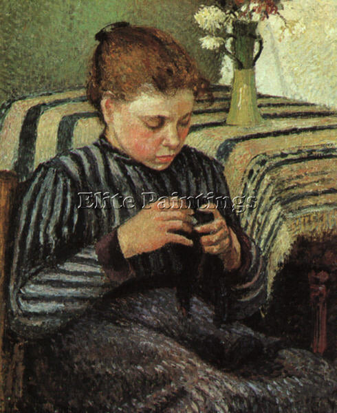 CAMILLE PISSARRO GIRL SEWING 1895 ARTIST PAINTING REPRODUCTION HANDMADE OIL DECO