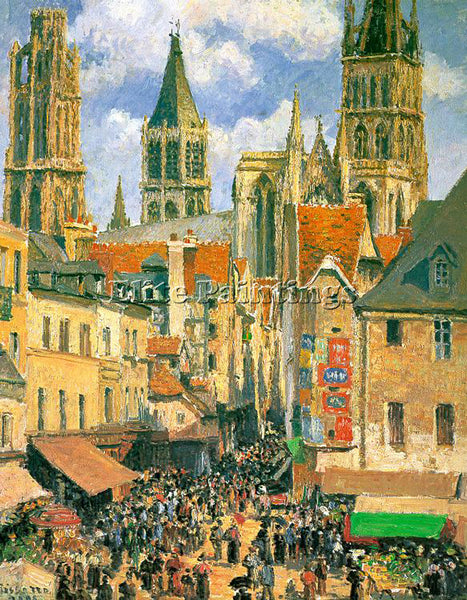 CAMILLE PISSARRO THE OLD MARKET AT ROUEN 1898 ARTIST PAINTING REPRODUCTION OIL