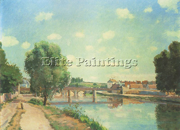 CAMILLE PISSARRO THE RAILWAY BRIDGE AT PONTOISE ARTIST PAINTING REPRODUCTION OIL