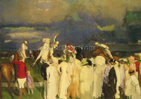 GEORGE WESLEY BELLOWS POLO CROWD ARTIST PAINTING REPRODUCTION HANDMADE OIL REPRO