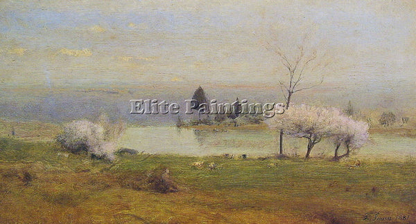 GEORGE INNESS POND AT MILTON ON THE HUDSON ARTIST PAINTING REPRODUCTION HANDMADE