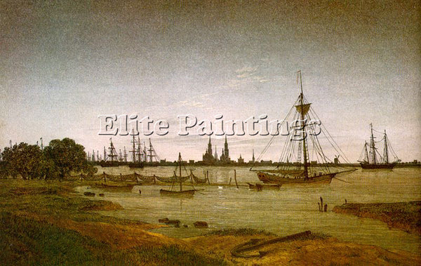 CASPAR DAVID FRIEDRICH PORT BY MOONLIGHT ARTIST PAINTING REPRODUCTION HANDMADE