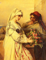 BELGIAN PORTAELS JEAN FRANCOIS THE ROSE VENDER ARTIST PAINTING REPRODUCTION OIL