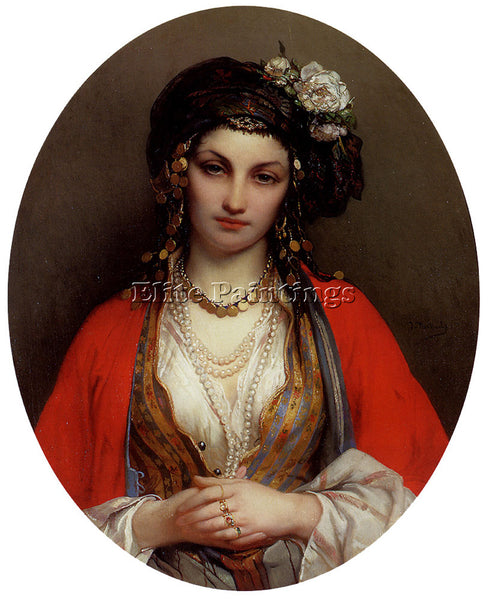 BELGIAN PORTAELS JEAN FRANCOIS AN ORIENTAL BEAUTY ARTIST PAINTING REPRODUCTION