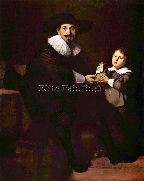 REMBRANDT PORTRAIT OF JAN AND HIS SON PELLICORNE ARTIST PAINTING HANDMADE CANVAS