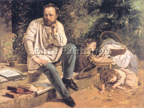 GUSTAVE COURBET PORTRAIT OF PJ PROUDHON IN 1853 ARTIST PAINTING REPRODUCTION OIL