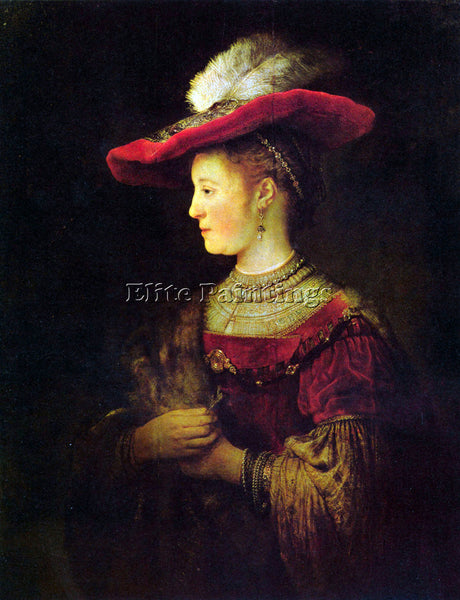REMBRANDT PORTRAIT OF SASKIA SASKIA AS A YOUNG WOMAN  ARTIST PAINTING HANDMADE