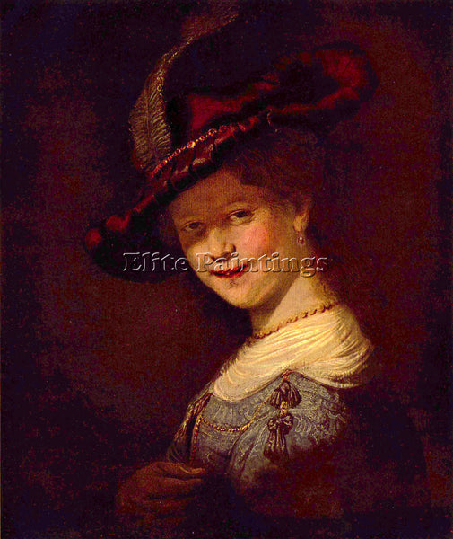 REMBRANDT PORTRAIT OF SASKIA VAN UIJLENBURGH ARTIST PAINTING HANDMADE OIL CANVAS