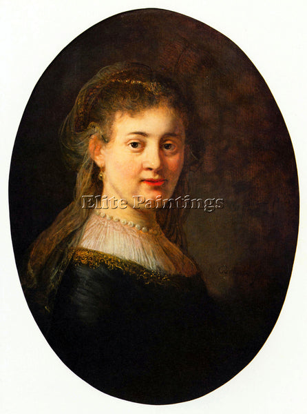 REMBRANDT PORTRAIT OF SASKIA WITH VEIL OVAL ARTIST PAINTING HANDMADE OIL CANVAS
