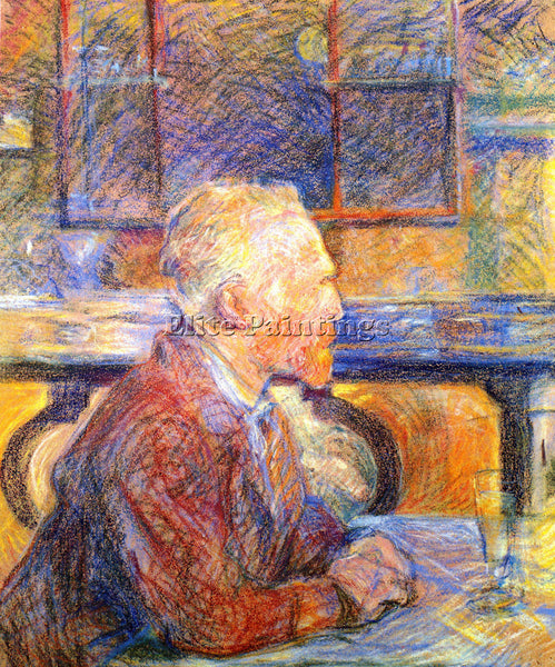 TOULOUSE-LAUTREC PORTRAIT OF VAN GOGH ARTIST PAINTING REPRODUCTION HANDMADE OIL