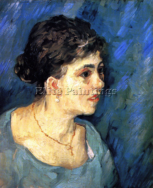 VAN GOGH PORTRAIT OF WOMAN IN BLUE ARTIST PAINTING REPRODUCTION HANDMADE OIL ART