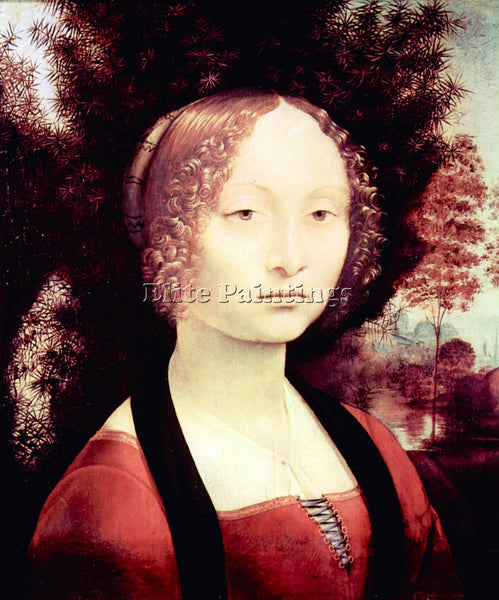 LEONARDO DA VINCI PORTRAIT OF A DAME GINEVRA BENCI  ARTIST PAINTING REPRODUCTION