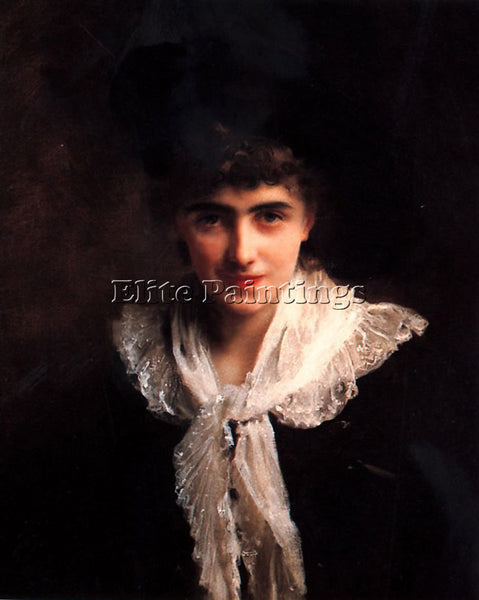 GUSTAVE JEAN JACQUET PORTRAIT OF A GENTLEWOMAN ARTIST PAINTING REPRODUCTION OIL