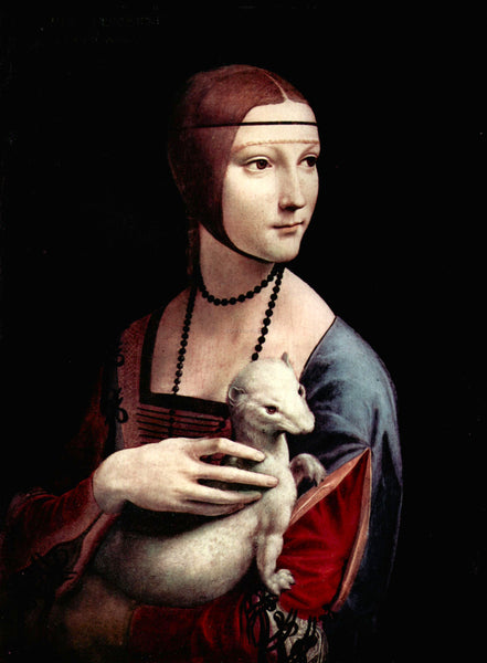 LEONARDO DA VINCI PORTRAIT OF A LADY WITH ERMINE ARTIST PAINTING HANDMADE CANVAS