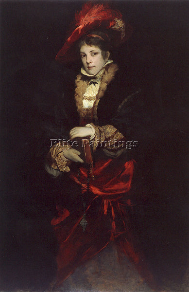 HANS MAKART PORTRAIT OF A LADY WITH RED PLUMED HAT ARTIST PAINTING REPRODUCTION