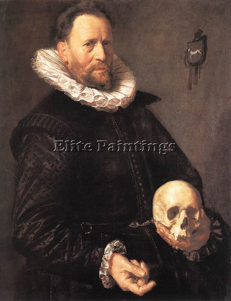 FRANS HALS PORTRAIT OF A MAN HOLDING A SKULL ARTIST PAINTING HANDMADE OIL CANVAS