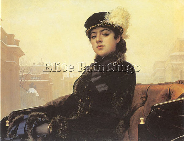 IVAN NIKOLAEVICH KRAMSKOY PORTRAIT OF A WOMAN ARTIST PAINTING REPRODUCTION OIL