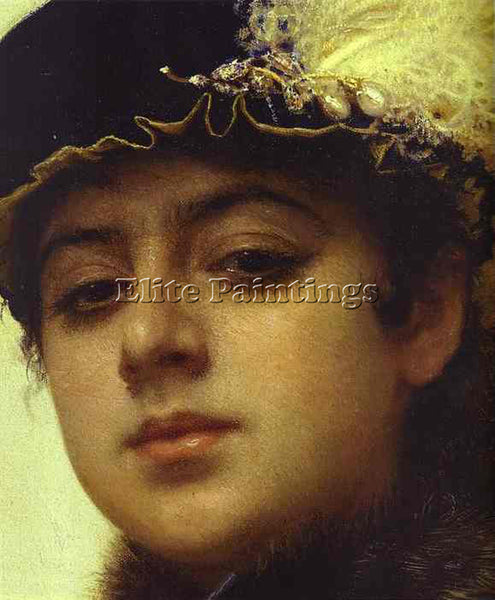 IVAN NIKOLAEVICH KRAMSKOY PORTRAIT OF A WOMAN DT ARTIST PAINTING HANDMADE CANVAS