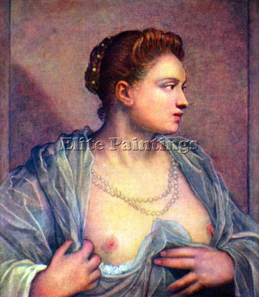 TINTORETTO PORTRAIT OF A WOMAN WITH BARE BREASTS ARTIST PAINTING HANDMADE CANVAS