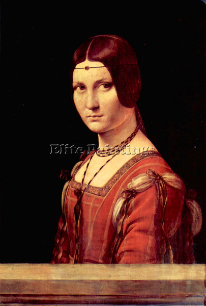 LEONARDO DA VINCI PORTRAIT OF A YOUNG WOMAN LA BELLE FERRONIERE  ARTIST PAINTING