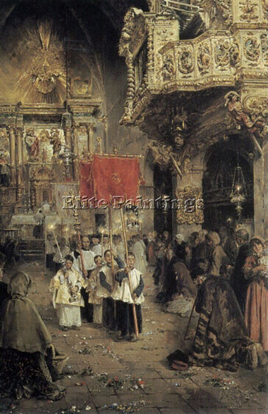 SPANISH PROCESSION AT THE END OF MASS ARTIST PAINTING REPRODUCTION HANDMADE OIL