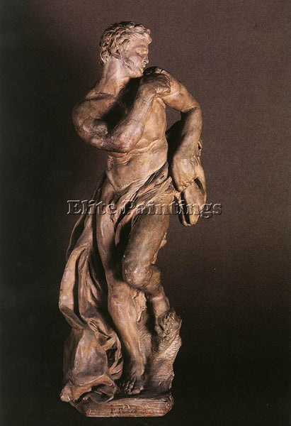 PIERRE PUGET THE FAUN TERRACOTTA ARTIST PAINTING REPRODUCTION HANDMADE OIL REPRO