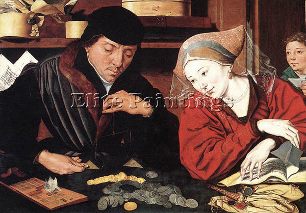 BELGIAN REYMERSWAELE MARINUS VAN THE BANKER AND HIS WIFE ARTIST PAINTING CANVAS