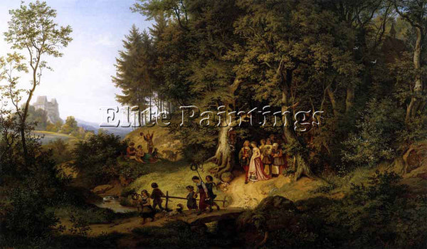 ADRIAN LUDWIG RICHTER BRIDAL PROCESSION IN A SPRING LANDSCAPE PAINTING HANDMADE