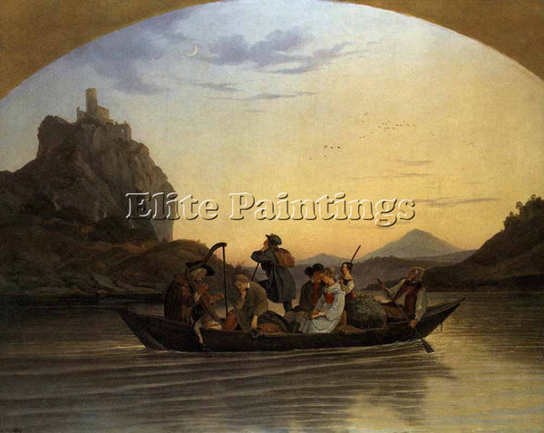 ADRIAN LUDWIG RICHTER CROSSING THE ELBE AT AUSSIG ARTIST PAINTING REPRODUCTION