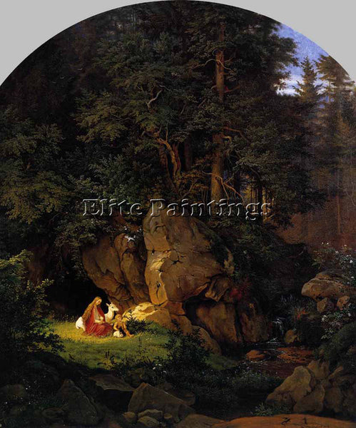 ADRIAN LUDWIG RICHTER GENOVEVA IN THE FOREST SECLUSION ARTIST PAINTING HANDMADE