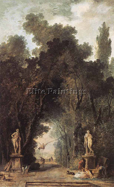 HUBERT ROBERT AVENUE IN A PARK ARTIST PAINTING REPRODUCTION HANDMADE OIL CANVAS