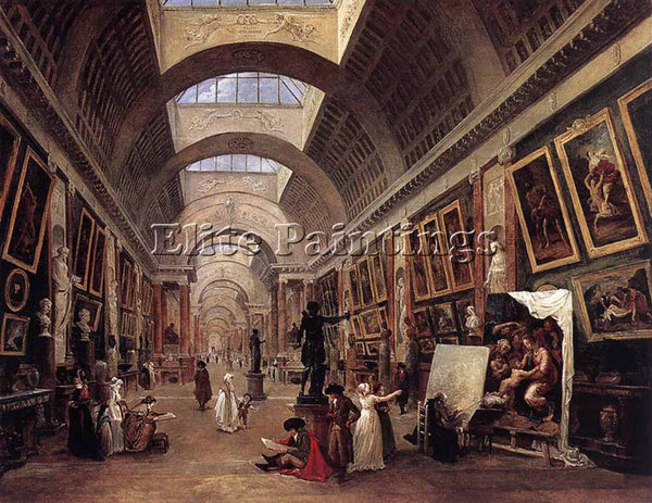 HUBERT ROBERT DESIGN FOR THE GRANDE GALERIE IN THE LOUVRE ARTIST PAINTING CANVAS
